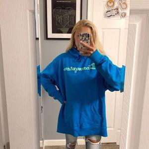 Champion blue & green logo hoodie sweatshirt